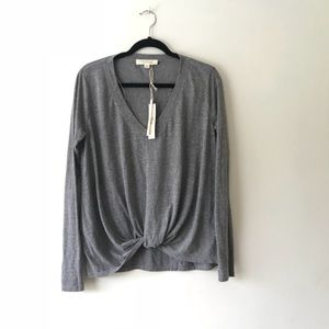 NWT lovestitch grey pullover with twist in front